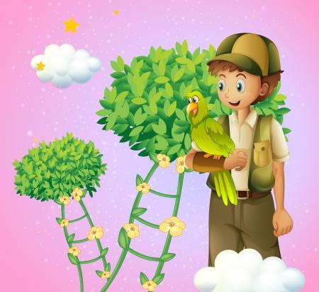 improvised: Illustration of a teenage boy holding a bird