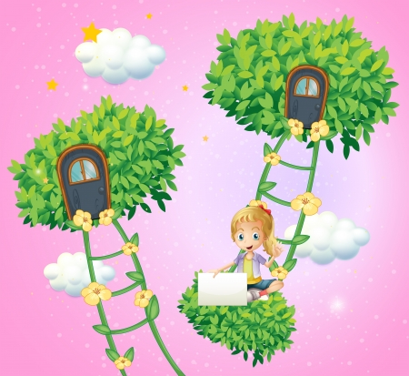 bush mesh: Illustration of a girl holding an empty signboard near the ladder plants Illustration