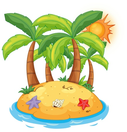 Illustration of an island with coconut trees on a white background