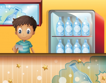 canteen: Illustration of a boy in the soda shop Illustration
