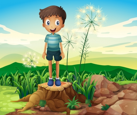 Illustration of a boy standing above a stump Stock Vector - 21095130