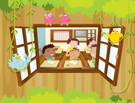 many windows: Illustration of the students inside the classroom with birds at the window  Illustration
