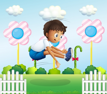 Illustration of a boy jumping near the fence Vector