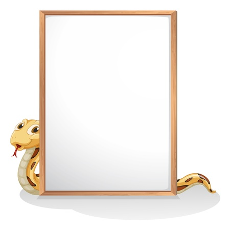 Illustration of a snake holding an empty whiteboard on a white background Stock Vector - 21095138