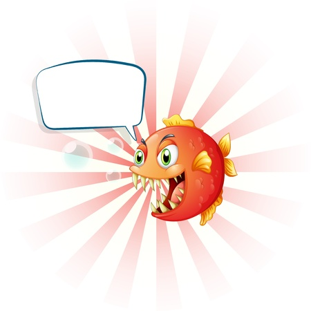callout: Illustration of an angry piranha with an empty callout on a white background  Illustration