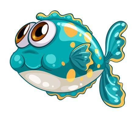 escamas de peces: Ilustración de un pez burbuja sobre un fondo blanco