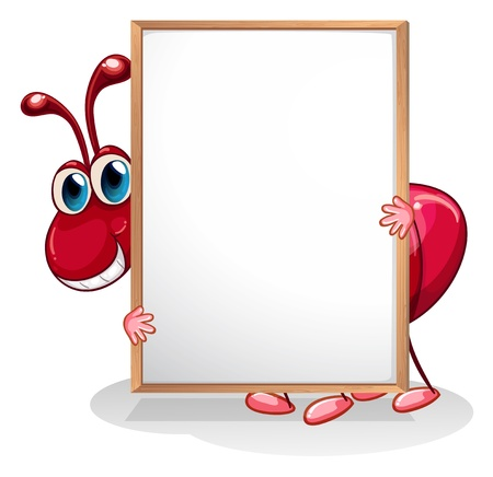 red ant: Illustration of an ant holding an empty whiteboard on a white background