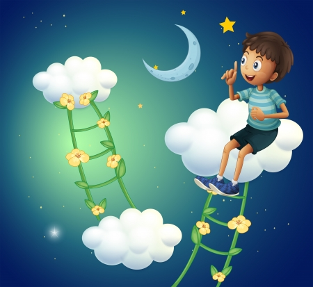 Illustration of a boy sitting at the cloud