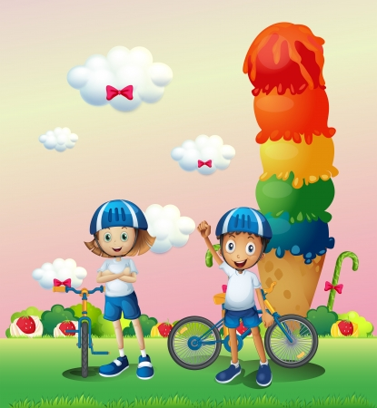 Illustration of the two teenagers in a land full of sweets Stock Vector - 21095157