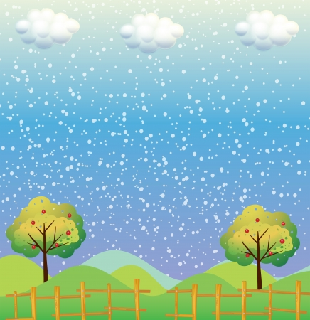 Illustration of the snowflakes at the hills Stock Vector - 21095161