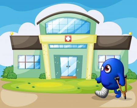 door leaf: Illustration of a disabled monster outside the hospital