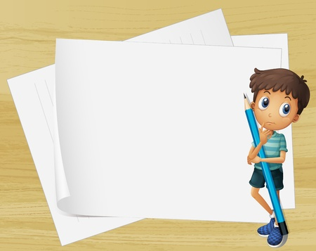 thinking student: Illustration of a kid holding a pencil beside the empty papers  Illustration