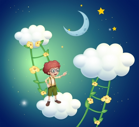 Illustration of a boy standing above the clouds Stock Vector - 21095167