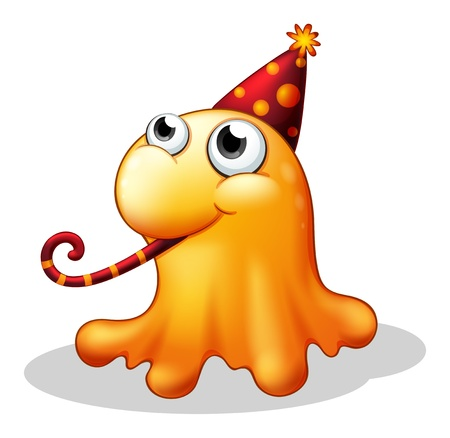 Illustration of a monster wearing a party hat on a white background  Vector