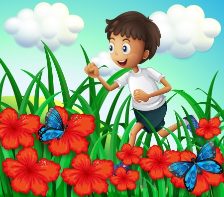 Illustration of a boy running at the garden with flowers and butterflies
