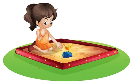 Illustration of a little kid playing outside on a white background Illustration