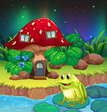 giant mushroom: Illustration of a frog near the giant red mushroom house Illustration