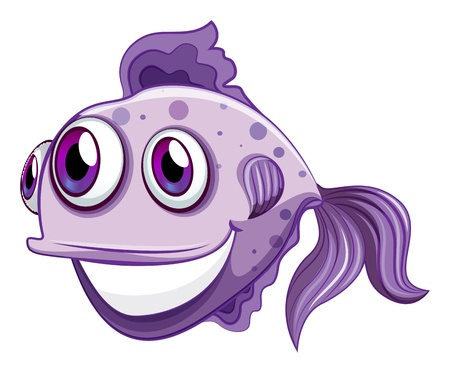 gills: Illustration of a violet fish smiling on a white background