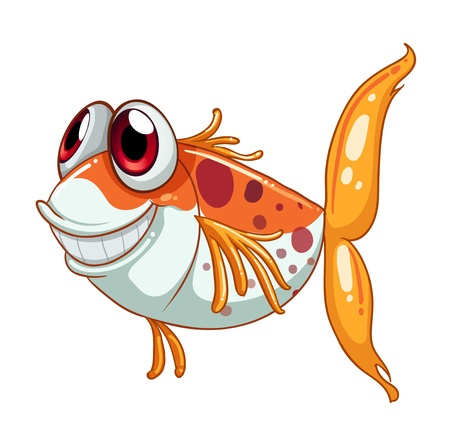 fish scales: Illustration of an orange fish with big eyes  on a white background  Illustration