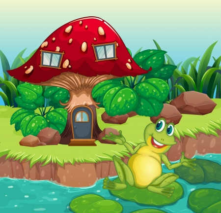 lilypad: Illustration of a frog and a mushroom house