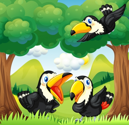 natural resources: Illustration of the three black birds at the forest
