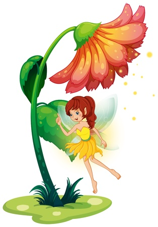 flower power: Illustration of a fairy under a giant flower on a white background