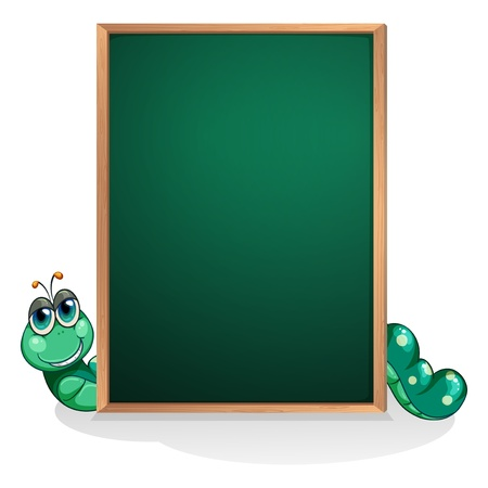 Illustration of a caterpillar at the back of an empty board  on a white background Stock Vector - 21095215