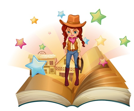 Illustration of a book with a pretty cowgirl on a white background  Stock Vector - 21095216