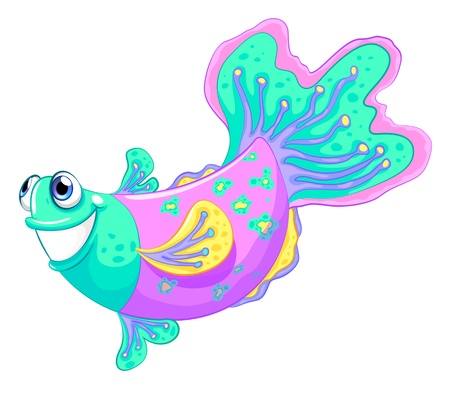 Illustration of a colorful fish on a white background Stock Vector - 21095217