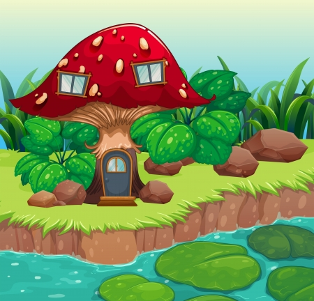 lilypad: Illustration of a red wooden mushroom house