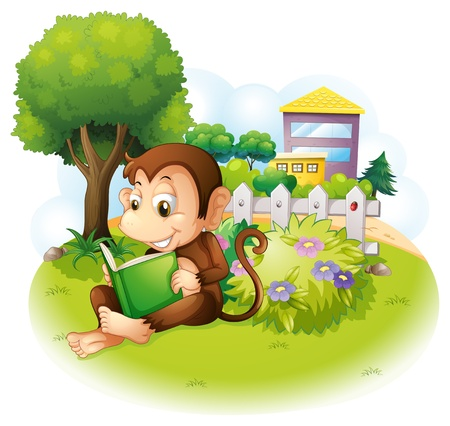 Illustration of a monkey reading a book near the plants with flowers on a white background Stock Vector - 21095224