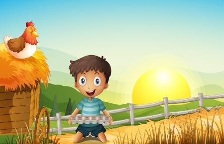 rising of sun: Ilustración de un niño en la granja de la celebración de una bandeja de huevos vacía