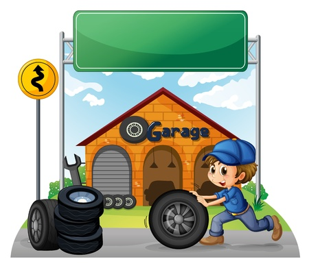 Illustration of a boy pushing the tire below the empty signboard on a white background Vector