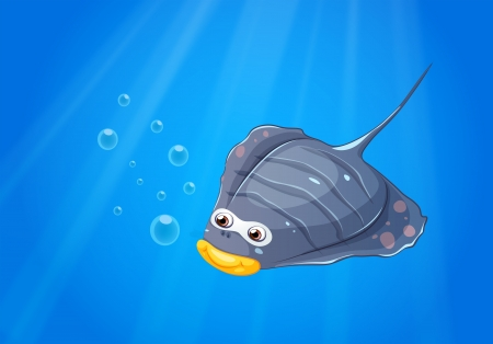 lllustration: lllustration of a manta ray under the sea