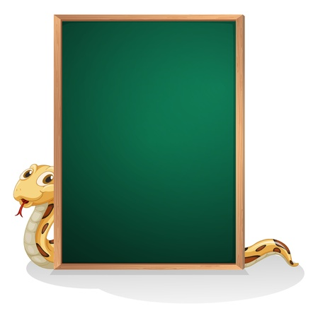 Illustration of a snake at the back of an empty board on a white background Stock Vector - 21095235