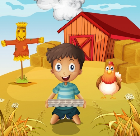eggtray: Illustration of a boy holding an empty egg tray at the farm with a scarecrow Illustration