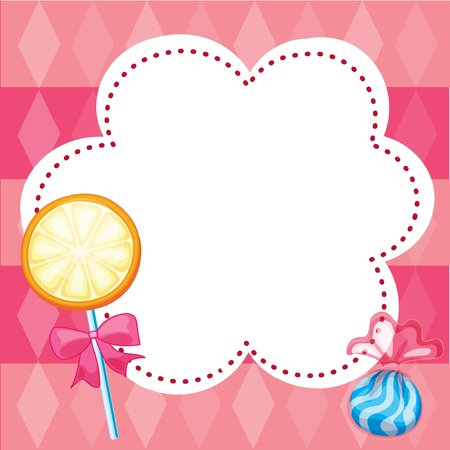 candy stripe: Illustration of a stationery with candies