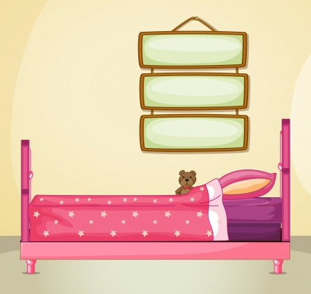house drawing: Illustration of the hanging signboards inside a room with a pink bed Illustration