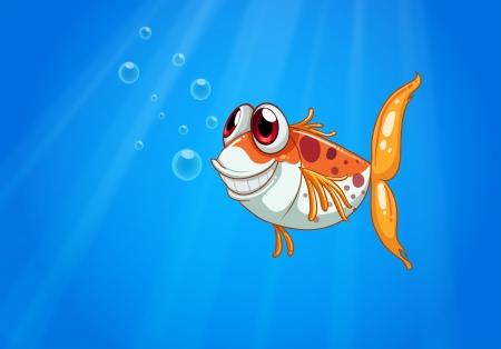sanctuaries: Illustration of an orange fish with big eyes under the sea Illustration