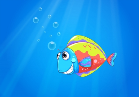Illustration of a colorful ugly fish under the sea Stock Vector - 21095246