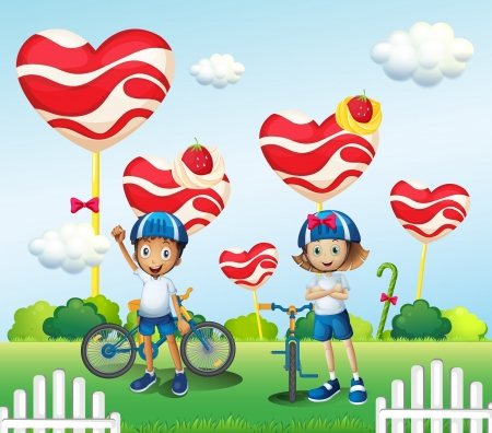 Illustration of a boy and a girl biking near the giant lollipops Vector