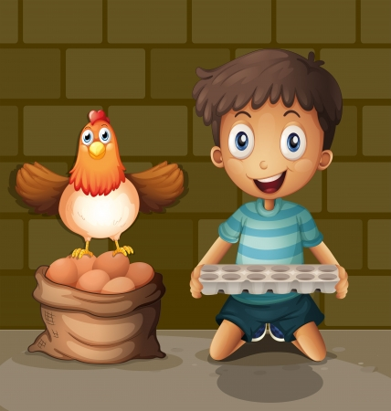 chicken and egg: Illsutration of a chicken laying eggs beside the young boy with an egg tray