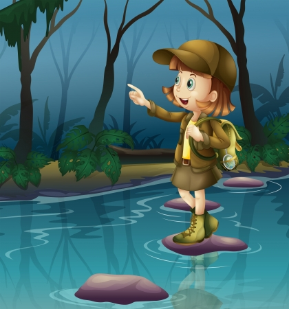 river rock: Illustration of a girl above a rock in the river