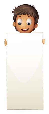 Illustration of a boy standing with an empty cardboard on a white background Stock Vector - 21095259