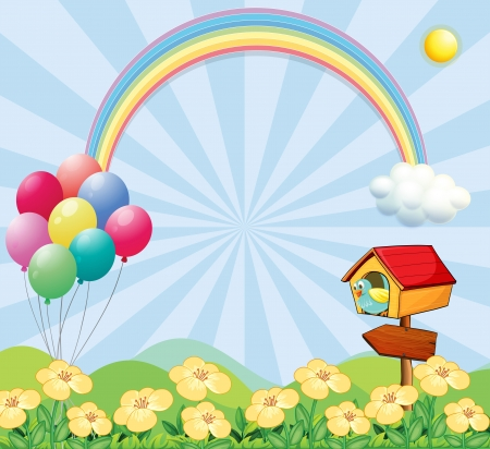 oblong: Illustration of a garden near the hills with balloons, a rainbow and a pet house Illustration