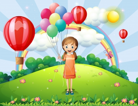 Illustration of a girl holding balloons Vector