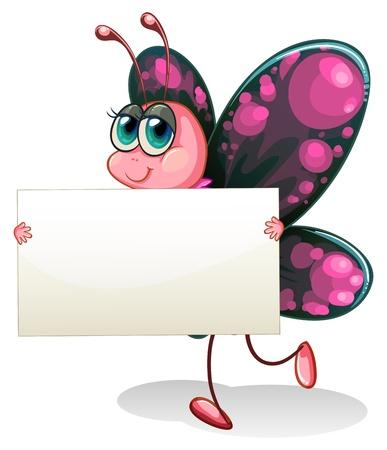 papillon rose: Illustration d'un papillon tenant un carton vide sur un fond blanc