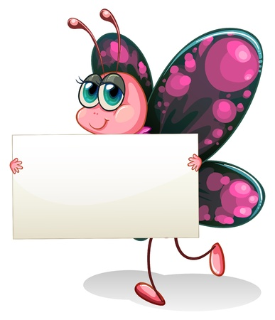 blank sign: Illustration of a butterfly holding an empty cardboard on a white background