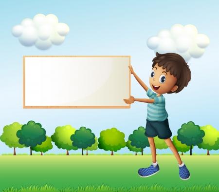 framed: Illustration of a boy holding an empty framed board