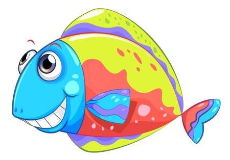 sanctuary: Illustration of a colorful smiling fish on a white background Illustration